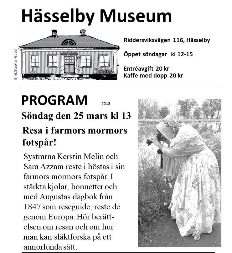 25 mars berättar vi om Augustas resa på Hässelby museum